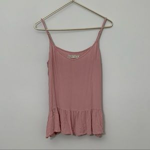 ABERCROMBIE pink tiered crop tank size large